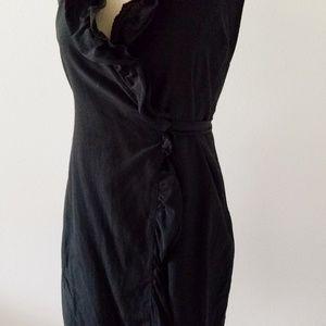 LOFT Dresses - ANN TAYLOR 0 P Black Sleeveless Silk Wrap Dress